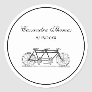 Vintage Bicycle Built For Two / Tandem Bike Round Sticker