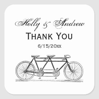 Vintage Bicycle Built For Two / Tandem Bike Square Sticker