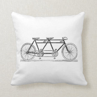Vintage Bicycle Built For Two / Tandem Bike Throw Pillow