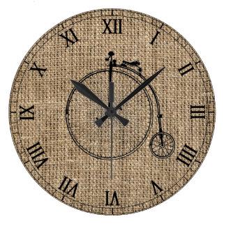 Vintage Bicycle Burlap Wall Clocks