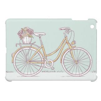 Vintage Bicycle Drawing Flower Basket iPad Mini Cases