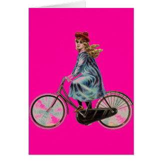 Vintage Bicycle girl in neon pink Card