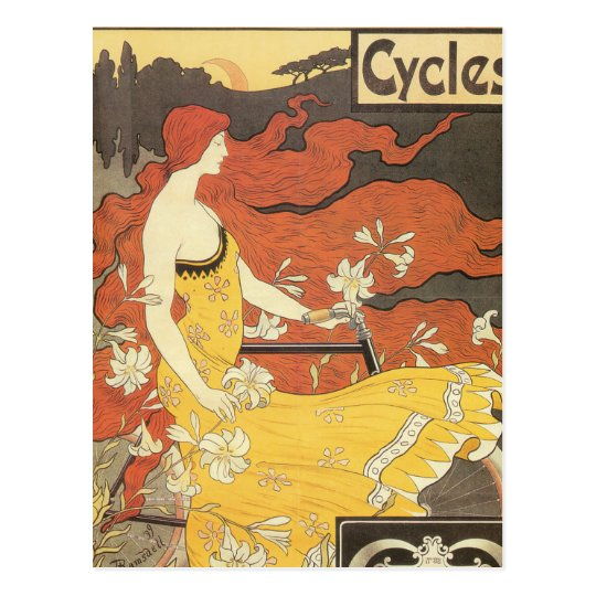 Vintage Bicycle Girl Yellow Dress Postcard