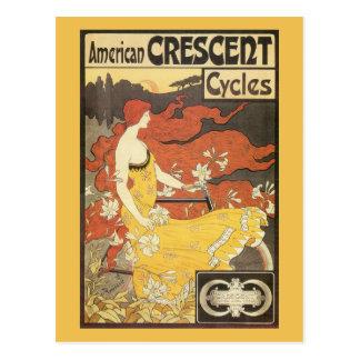 Vintage Bicycle Girl Yellow Dress Postcard