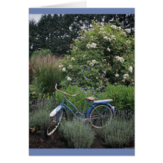 Vintage Bicycle in Garden Card