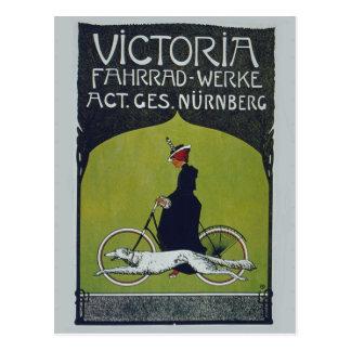 Vintage Bicycle Lady & Dog Postcard