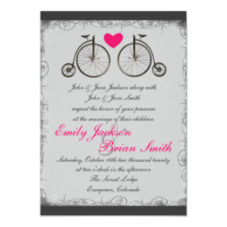 Vintage bicycle love gray wedding invitations