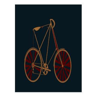 Vintage Bicycle Old School Blue Red Bike Postcard