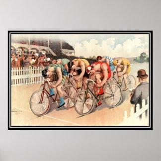 Vintage Bicycle race 1904 Poster Print