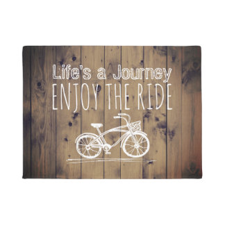 Vintage Bicycle Rustic Wood Boho Life's a Journey Doormat