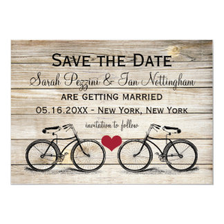 "Vintage Bicycle Save the Date Wedding Cards 5"" X 7"" Invitation Card"