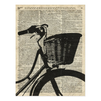 Vintage Bicycle Stencil Over Old Dictionary Page Postcard