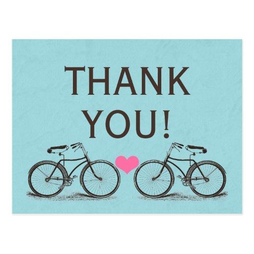 Vintage Bicycle Thank You Wedding Postcards