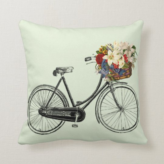 "Vintage Bicycle Throw Pillow 16"" x 16"""