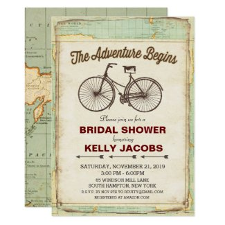 Vintage Bicycle Travel Bridal Shower Invitation