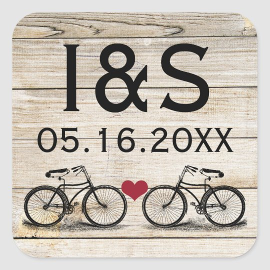 Vintage Bicycle Wedding Favour Stickers