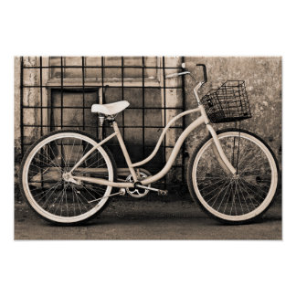 Vintage Bicycle With Basket Poster