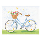 Vintage Bicycle with Flower Basket Postcard