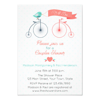 Vintage Bicycles Couple Bridal Shower Invitation