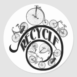 Vintage Bicycles Recycle Apparel and Gifts Round Sticker