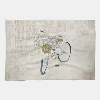 Vintage bicycles with roses basket kitchen towel