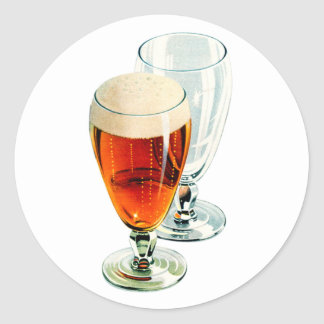 Vintage Bier Frosty Beer Glasses Illustration Classic Round Sticker