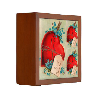 Vintage Big Red Bleeding Heart Valentine Postcard Desk Organizers