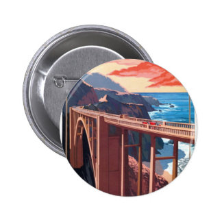 Vintage Big Sur Bixby Bridge USA Tourism 2 Inch Round Button
