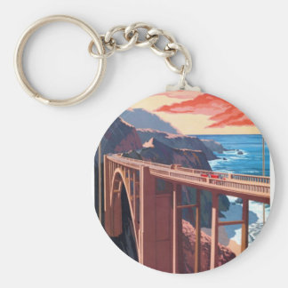 Vintage Big Sur Bixby Bridge USA Tourism Basic Round Button Keychain