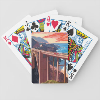 Vintage Big Sur Bixby Bridge USA Tourism Bicycle Playing Cards