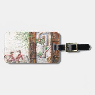 Vintage bike background luggage tag