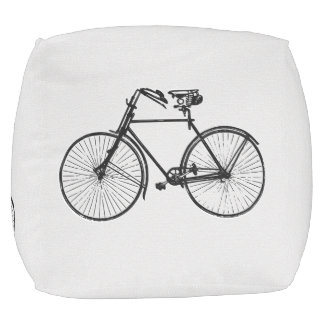 Vintage bike bicycle black white decor pouf