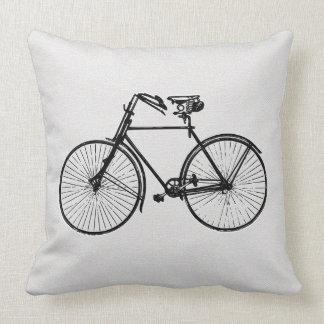 Vintage bike bicycle  black white Throw big pillow