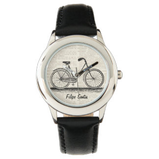 Vintage Bike Dictionary Page Art Personalized Name Watch