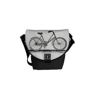 Vintage Bike Engraving Mini Messenger Bag