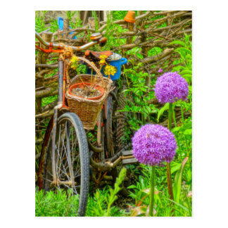 vintage bike in the garden postcard