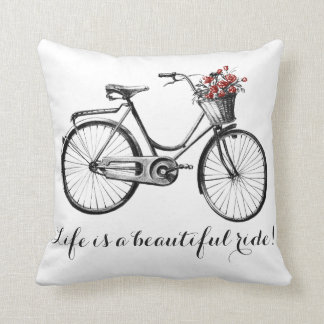 Vintage Bike Pillow - Life is beautiful ride!
