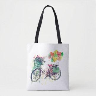 Vintage bike watercolor bag
