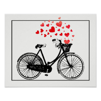 Vintage Bike with Love Hearts Poster