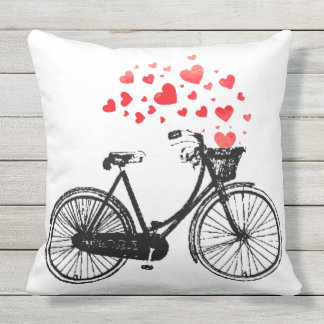 Vintage Bike with Love Hearts Throw Pillow