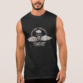 Vintage Biker Skull and Wings Emblem Sleeveless Shirt
