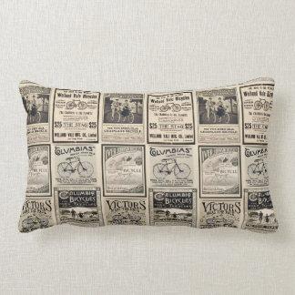 Vintage Biking Advertisement Collage Lumbar Pillow
