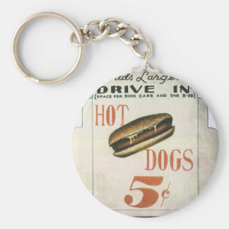 Vintage Billboard, Worlds Largest Drive In Hotdogs Basic Round Button Keychain
