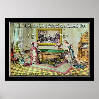 Vintage Billiards Game Poster Print