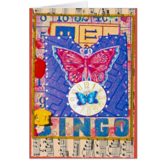 Vintage Bingo Altered Art Collage Card