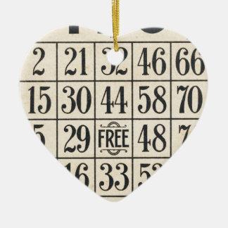 Vintage Bingo Card Ceramic Ornament