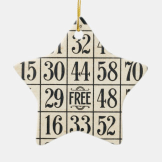 Vintage Bingo Card Ceramic Star Ornament