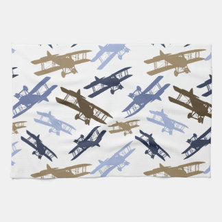 Vintage Biplane Airplane Pattern Blue Brown Kitchen Towel