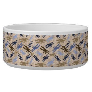 Vintage Biplane Burlap Print Airplane Pattern Pet Water Bowls