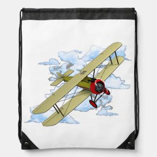 Vintage Biplane Flying Drawstring Bag